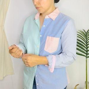 J Crew Y2K Colorblock Dual Striped Oxford Shirt